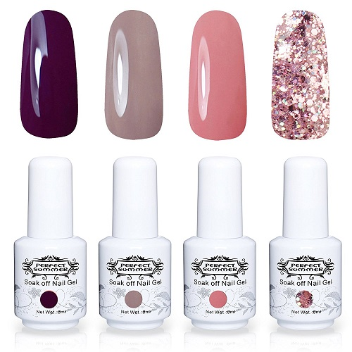 Perfect Summer Semi-permanent Gel Nail Polish Set 4PCS Multi Colours Varnish Soak