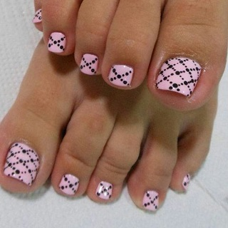 Baby pink and black polka design
