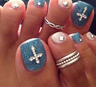 Blue and silver glitters