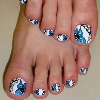 White, black, and blue flowered design