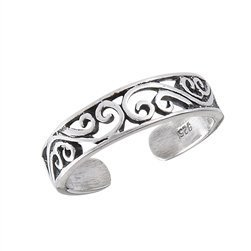 Sterling Silver Adjustable Intricate Scrolled Band Toe Ring